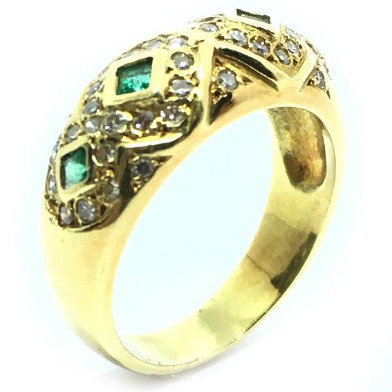 Anel em ouro 18k com brilhantes e esmeraldas - 2ABE0010 Esmeralda na ... 4bb27182ea