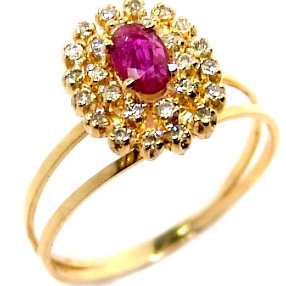 91330ddf2eb Anel chuveiro de ouro 18k com diamantes e rubi Rubi na Lorenzo Jóias