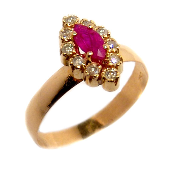 068cec03470 Anel chuveiro de ouro 18k com diamantes e rubi - 2ABR0049 Rubi na ...