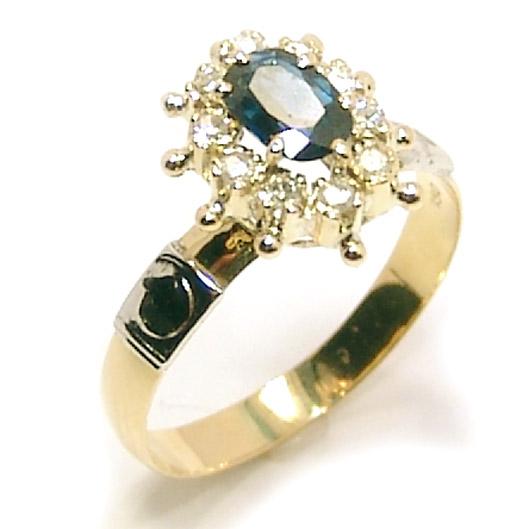 ebf610f9f971d Anel chuveiro de ouro 18k com diamantes e safira - 2ABS0025 ...