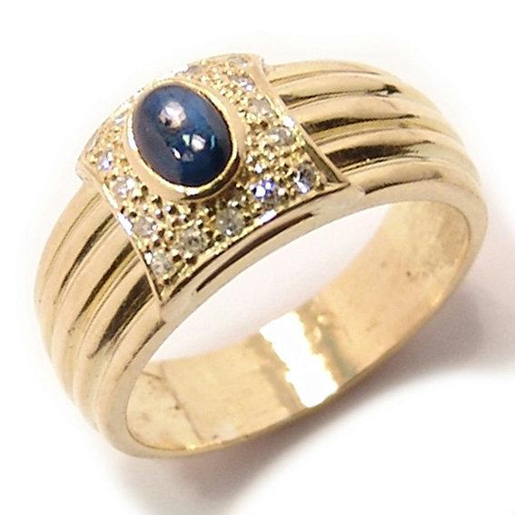 308688d0654c6 Anel chuveiro de ouro 18k com diamantes e safira - 2ABS0043 Rubi na ...