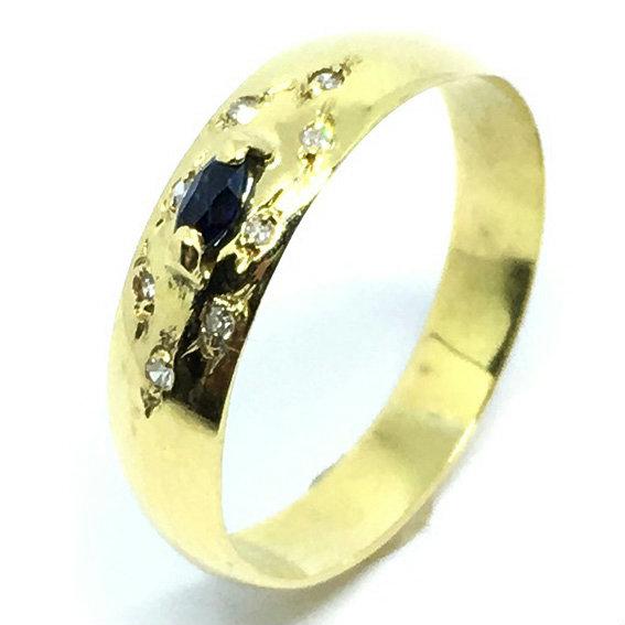 6725d38c282b9 Anel em ouro 18k com safira e diamantes Safira na Lorenzo Jóias