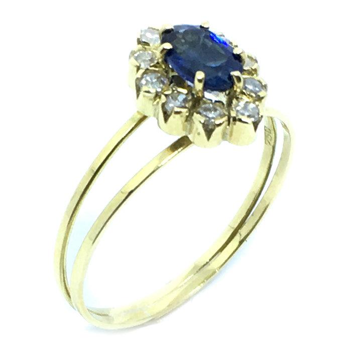 33213716ba575 Anel chuveiro de ouro 18k com diamantes e safira - 2ABS0069 Safira ...