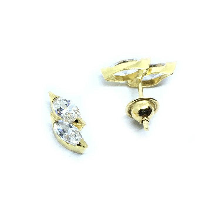 29b467bb3c255 Brinco em ouro 18k com zirconia - 2BRZ0223 Zirconia na Lorenzo Jóias