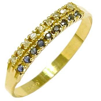 a792173146e75 Meia Aliança em ouro 18k com pedras preciosas Safira na Lorenzo Jóias