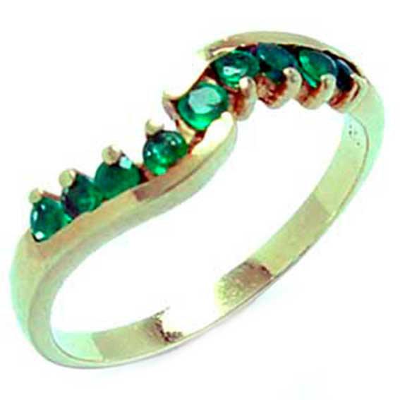 Meia aliança de esmeraldas em ouro 18k - 2MES0009 Esmeralda na ... 8177e970a7