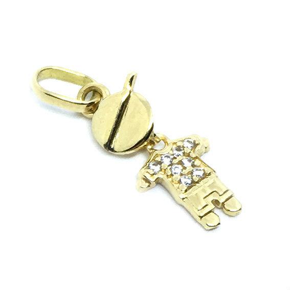 63fbaeed8f434 Pingente em ouro 18k - Boneco - 2PIZ0072 Zirconia na Lorenzo Jóias
