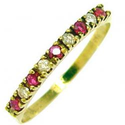 103f5ff3b5d0b Meia aliança de rubis e brilhantes em ouro 18k Rubi na Lorenzo Jóias