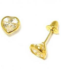 ac9afa5ce53c0 Brinco em ouro amarelo 18k com zirconia- Coração - 2BRZ0003 Zirconia na  Lorenzo Jóias