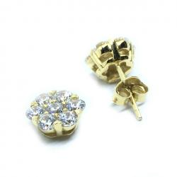 099785a1920cc Brinco em ouro 18k com zirconia - Flor - 2BRZ0227 Zirconia na ...