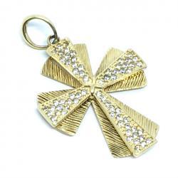 615466a684472 Crucifixo em ouro 18k com zirconia - 2CZZ0065 Zirconia na Lorenzo Jóias