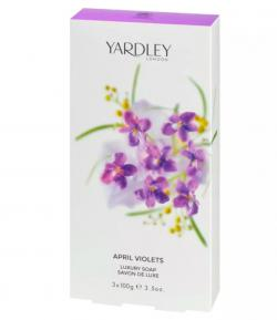Sabonete April Violets Yardley Feminino Cx. tradicional 3 unid. de 100g